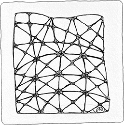 One of my favorite tangles, 'Nzeppel can be done with a more regular grid as in the lower half of the tile, or an irregular fashion as in the top half. The two styles play well together, too.